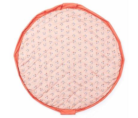Play & Go sac de rangement / tapis de jeu / sac à couches Animal Faces en jersey de coton rose pêche rose corail ø120cm