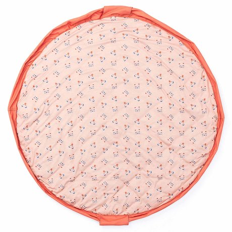 Play & Go storage bag / play mat / diaper bag Animal Faces soft coral peach pink jersey cotton ø120cm