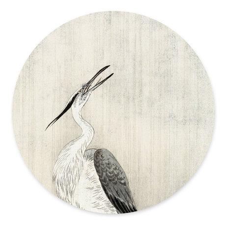 Groovy Magnets Magneetsticker Heron in the rain gebroken wit zelfklevend vinyl met ijzerdeeltjes Ø60cm