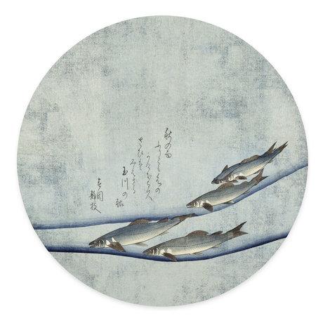 Groovy Magnets Magneetsticker Beauty of the trout blauw zelfklevend vinyl met ijzerdeeltjes Ø60cm