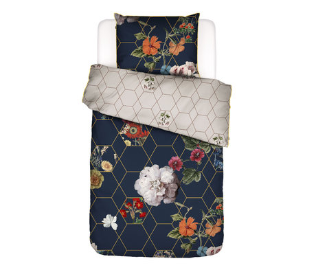 ESSENZA Bettbezug Abigail dunkelblau mehrfarbiges Textil 140x220cm - inkl. Kissenbezug 60x70cm