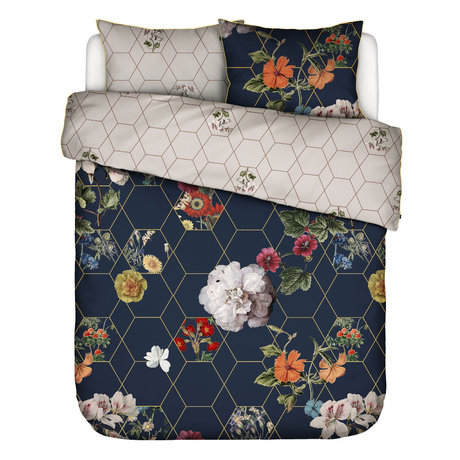 ESSENZA Duvet cover Abigail dark blue multicolour textile 240x220cm - incl. Pillowcase 60x70cm