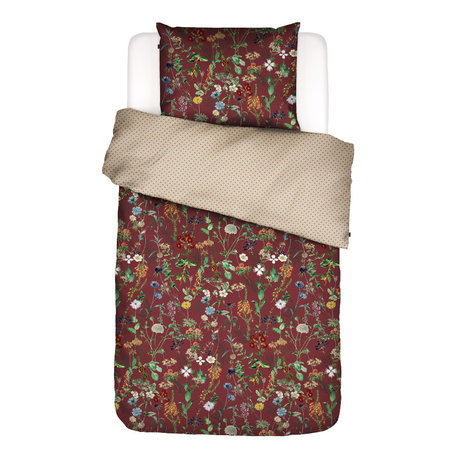 ESSENZA Housse de couette Aletta bordeaux rouge textile multicolore 140x220cm - Taie d'oreiller incluse 60x70cm