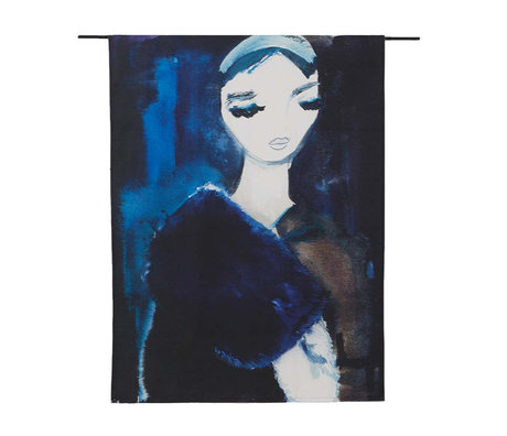 Urban Cotton Wandkleed Lady in Blue organisch katoen verkrijgbaar in 3 maten