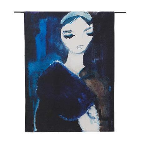 Urban Cotton Lady Tapisserie aus blauer Bio-Baumwolle in 3 Größen erhältlich