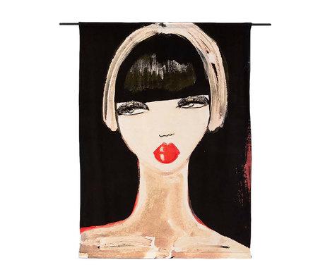 Urban Cotton Tapisserie Lady en rouge coton édition limitée 177x130x0.6 cm