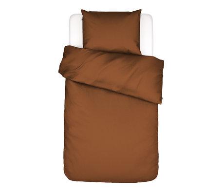 ESSENZA Dekbedovertrek Minte Leather bruin textiel 140x220cm - incl. kussensloop 60x70cm