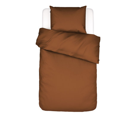 ESSENZA Enveloppe de couette Minte Leather, textile marron 140x220cm - Taie d'oreiller incluse 60x70cm