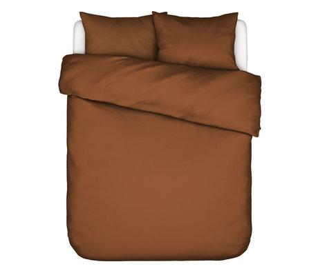 ESSENZA Dekbedovertrek Minte Leather bruin textiel 200x220cm - incl. 2x kussensloop 60x70cm