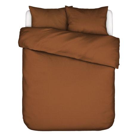 ESSENZA Enveloppe de couette Minte Leather, textile brun 260x220cm - avec 2x taies d'oreiller 60x70cm