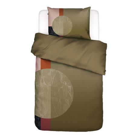 ESSENZA Housse de couette Mulan vert multicolore en coton 140x220cm - avec taie d'oreiller 60x70cm