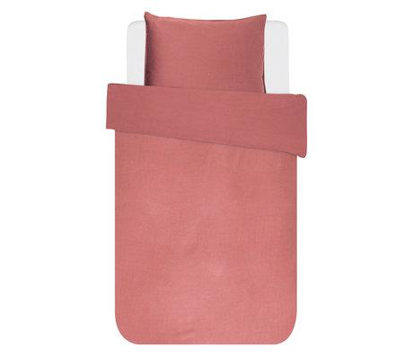 ESSENZA Housse de couette Minte textile rose poudré 140x220cm - Taie d'oreiller incluse 60x70cm