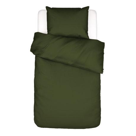 ESSENZA Housse de couette Otis coton vert olive 140x220cm - Taie d'oreiller incluse 60x70cm
