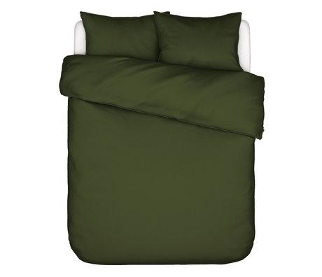 ESSENZA Housse de couette Otis coton vert olive 200x220cm - avec 2x taies d'oreiller 60x70cm