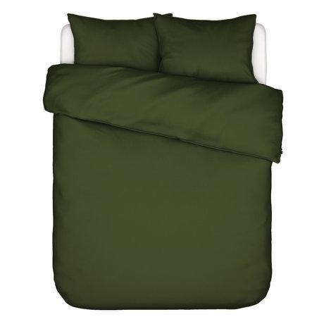 ESSENZA Housse de couette Otis coton vert olive 240x220cm - avec 2x taies d'oreiller 60x70cm