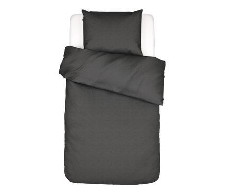 ESSENZA Housse de couette Otis en coton gris anthracite 140x220cm - avec taie d'oreiller 60x70cm