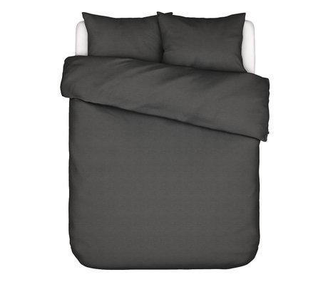 ESSENZA Housse de couette Otis en coton gris anthracite 200x220cm - avec 2x taies d'oreiller 60x70cm