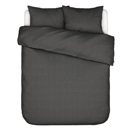 ESSENZA Housse de couette Otis 260x220cm en coton gris anthracite - avec 2x taies d'oreiller 60x70cm
