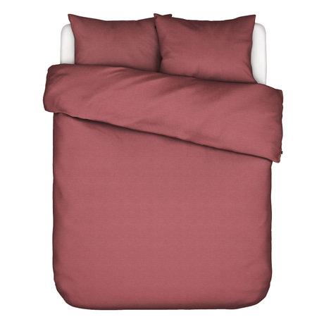 ESSENZA Housse de couette Otis en coton rouge 240x220cm - avec 2x taie d'oreiller 60x70cm