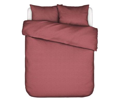 ESSENZA Housse de couette Otis en coton rouge 260x220cm - avec 2x taie d'oreiller 60x70cm