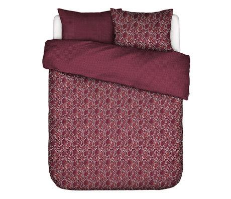 ESSENZA Enveloppe de couette Solan bordeaux rouge en textile 200x220cm - avec 2x taies d'oreiller 60x70cm