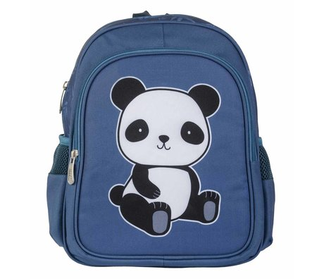 A Little Lovely Company Backpack Panda blue polyester 27x32x15cm