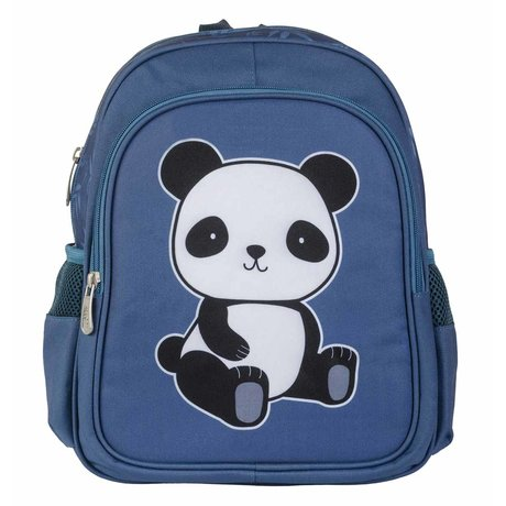 A Little Lovely Company Sac à dos Panda en polyester bleu 27x32x15cm