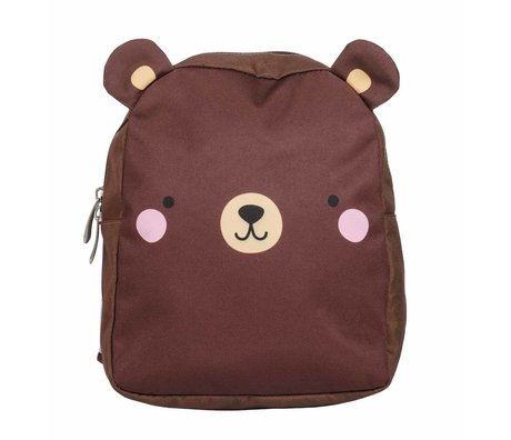 A Little Lovely Company Backpack Bear brown polyester 21x26x10cm