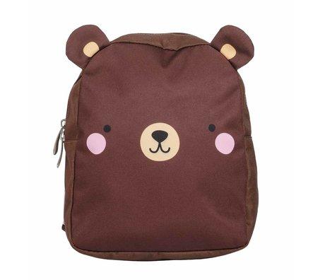 A Little Lovely Company Rugzak Bear bruin polyester 21x26x10cm