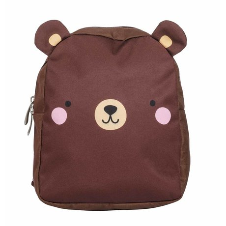 A Little Lovely Company Sac à dos Ours marron polyester 21x26x10cm