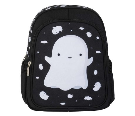 A Little Lovely Company Backpack Ghost black white polyester 27x32x15cm