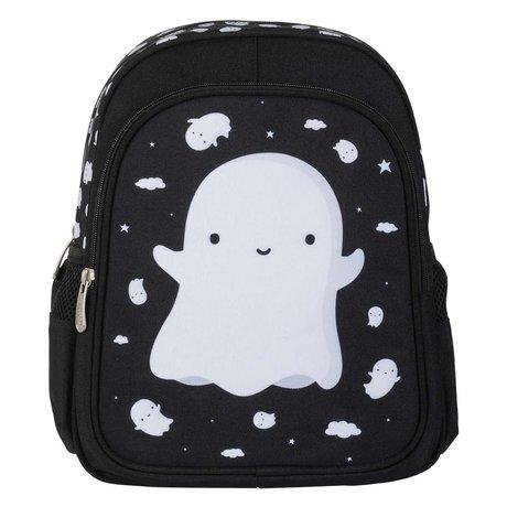 A Little Lovely Company Sac à dos Ghost noir blanc en polyester 27x32x15cm