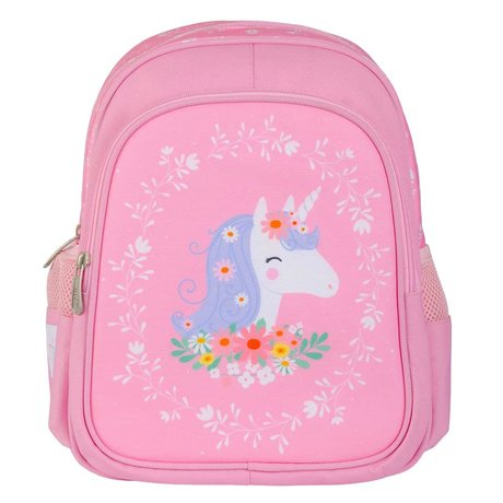 A Little Lovely Company Sac à dos Licorne rose en polyester 27x32x15cm