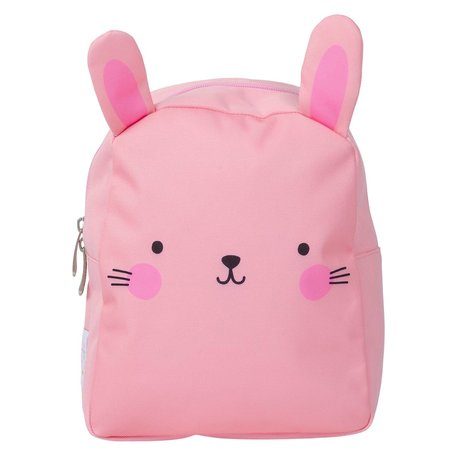 A Little Lovely Company Sac à dos lapin en polyester rose 21x26x10cm