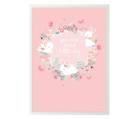 A Little Lovely Company Poster Bunny field pink paper 50x70cm