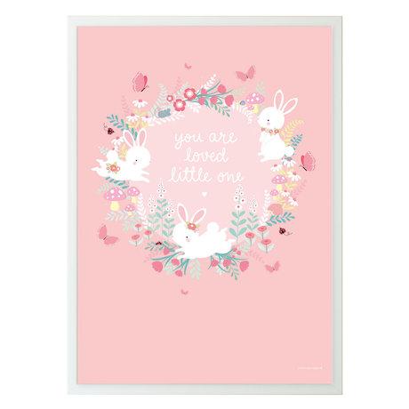 A Little Lovely Company Poster Bunny field roze papier 50x70cm
