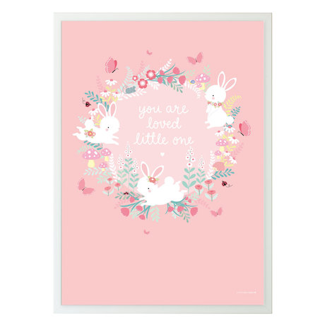 A Little Lovely Company Poster Champ de lapin papier rose 50x70cm