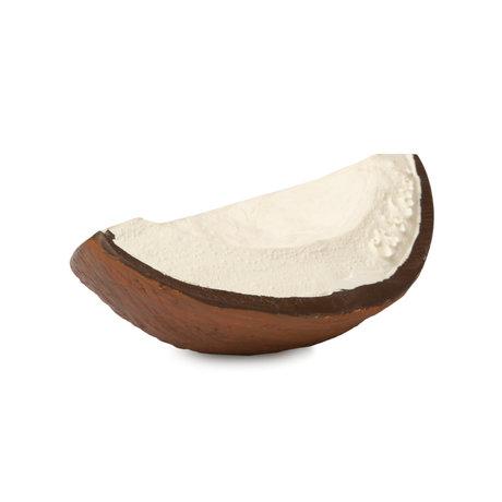 Oli & Carol Bad en bijtspeeltje Coco de kokosnoot wit bruin natuurlijk rubber 6,5x9,1x3,2cm