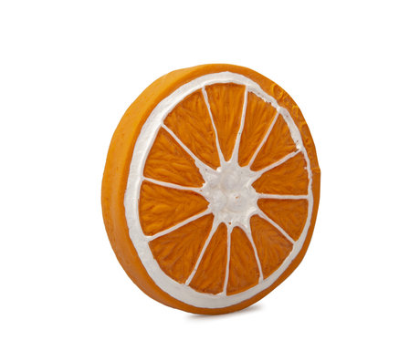 Oli & Carol Bade- und Beißspielzeug Clementino der orange-orange-weiße Naturkautschuk Ø8,3x1,2cm