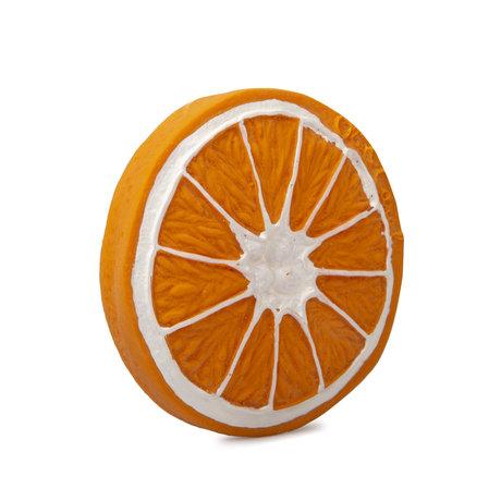 Oli & Carol Bad en bijtspeeltje Clementino de sinaasappel oranje wit natuurlijk rubber Ø8,3x1,2cm