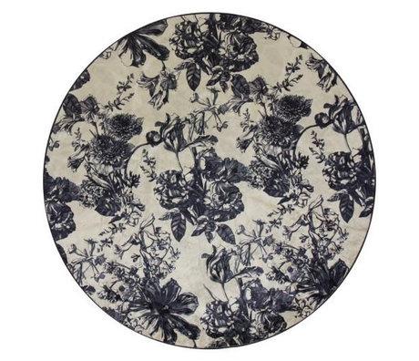 ESSENZA Vloerkleed rond Vivienne ecru wit antraciet grijs textiel L Ø180cm