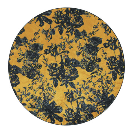 ESSENZA Rug around Vivienne ocher yellow anthracite gray textile S Ø90cm