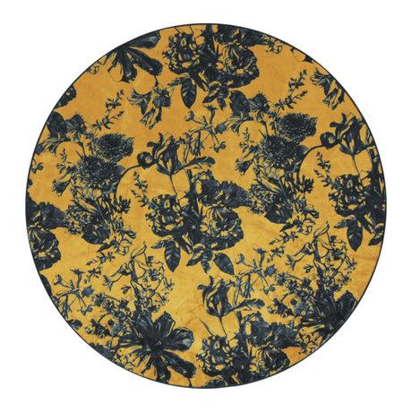 ESSENZA Tapis autour de Vivienne ocre jaune gris anthracite textile S Ø90cm