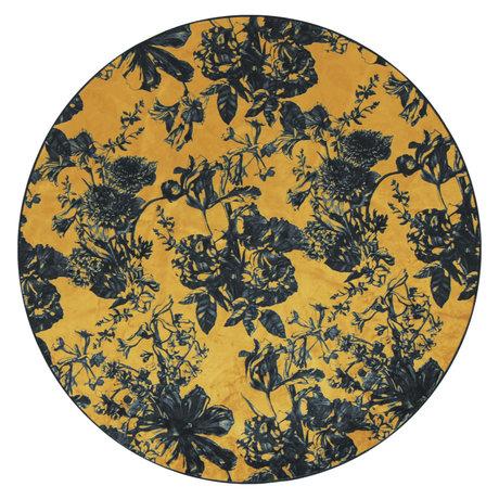 ESSENZA Tapis autour de Vivienne ocre jaune gris anthracite textile L Ø180cm