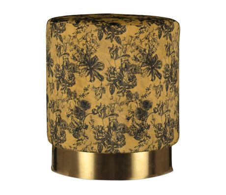 ESSENZA Poef Vivienne okergeel goud velvet metaal  Ø43x40cm