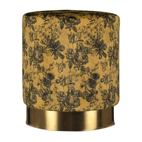 ESSENZA Pouf Vivienne yellow ocher gold velvet metal Ø43x40cm