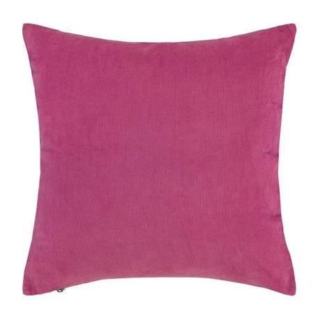 ESSENZA Coussin Riv coton velours côtelé rose fuchsia 45x45cm