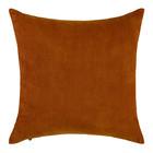 ESSENZA Coussin Riv en cuir velours côtelé marron coton 45x45cm