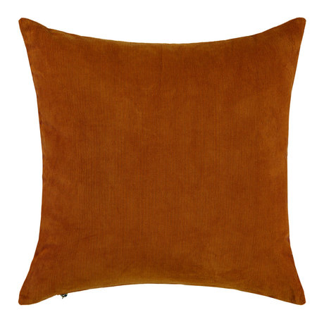ESSENZA Cushion Riv leather brown corduroy cotton 45x45cm