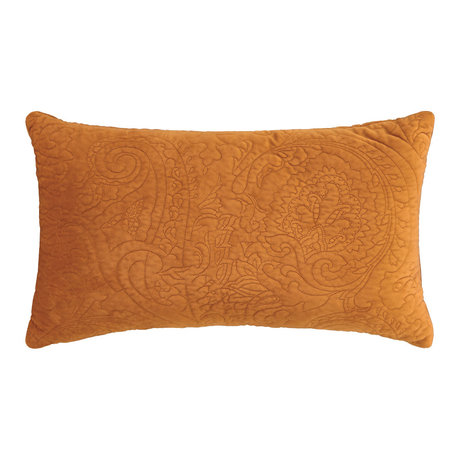 ESSENZA Decorative pillow Roeby leather brown velvet polyester 30x50cm